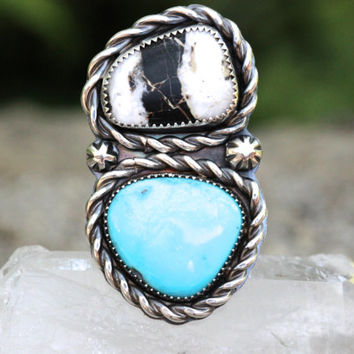 Turquoise Ring Jewelry Double Stone White Buffalo Natural Statement