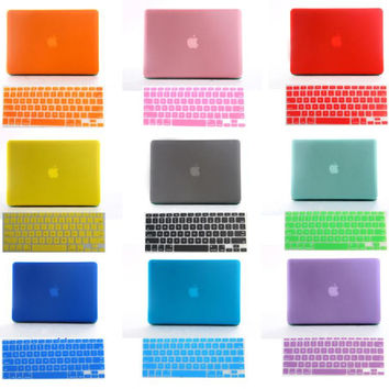 "2in1 Christmas gift Crystal Matte hard cover case+ France French AZERTY keyboard skin for 11"" 13"" 15"" mac macbook air pro retina"