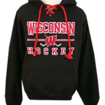 Wisconsin Hockey Black W Stick Laces Hooded Sweatshirt