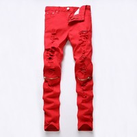 New Fashion Mens Ripped Biker Jeans 100% Cotton Red Black White Slim Fit Motorcycle Jeans Men's Skinny Hole Denim Joggers Pants