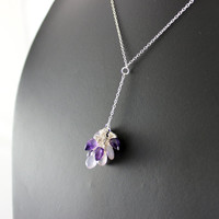 Purple Gemstone Necklace, Amethyst Necklace, Sterling Silver Necklace, Y Necklace, Delicate, Light Purple Necklace, Lavender Necklace