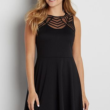 dress with mesh yoke | maurices