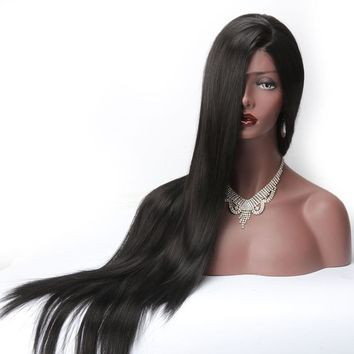 Long Silky Straight Lace Front Wigs Synthetic For Black Women Heat Resistant L Part Natural Afro American Wigs 1B Color