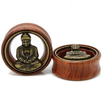 TOPBRIGHT® Pair Wood & Brass With Buddha Flesh Tunnels Expander Ear Gauges Earring Plugs (14mm)