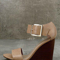 Neysa Natural Ankle Strap Wedges