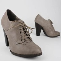 lace-up leatherette oxford heel