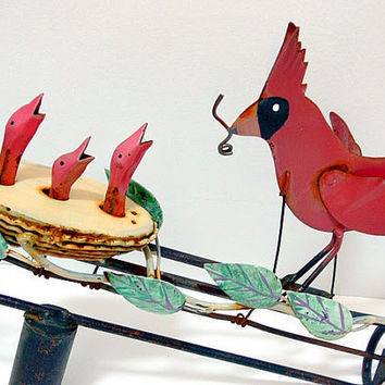 Vintage Metal Whirligig Mama Cardinal Feeding Her by EitherOrFinds