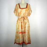 Kaftan Dress / Tunic Caftan / Swim Coverup / Hand Made / Vintage Indian Silk Sari / Orange Batik Tie Dye Print / Limited Edition