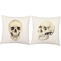 Set of 2 Skull Pillows - Victorian Skull Print Pillow Covers with or without Cushion Inserts - Skull Print, Anatomical Print, Gothic Decor