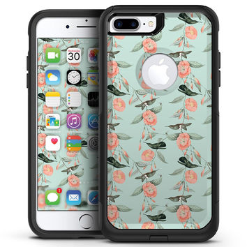 The Vintage Mint Floral Hummingbird  - iPhone 7 or 7 Plus Commuter Case Skin Kit