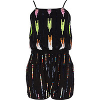 River Island Girls black sequin romper