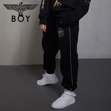 """""""Boy London"""" Unisex Casual Letter Print Hot Stamping Pocket Sweatpants Couple Thickened Leisure Pants Trousers"""