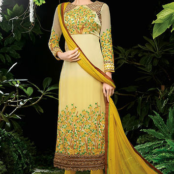 Shaded Cream and Mustard Yellow Embroidered Straight Cut Suit