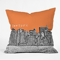 Bird Ave New York Orange Throw Pillow