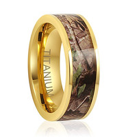 7mm Camo Hunting Camouflage Wedding Band Camouflage Wedding Band, Gold Plated Camo Ring, Titanium Ring