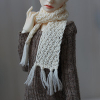MSD Cream White Knitted Scarf - BJD Accessory
