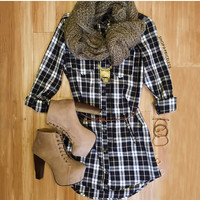 Jennie Plaid Dress - Black