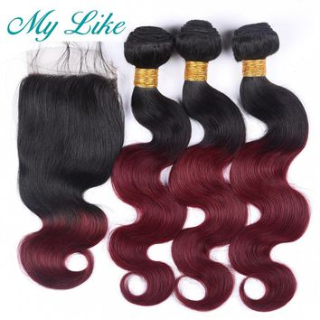 My Like Ombre Human Hair Weave 3 Bundles with Closure Raw Indian Hair Body Wave Bundles with Closure 1B 99J Red Burgundy Nonremy