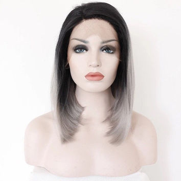Custom Ombre 2 Tone Dark Root Black to Grey Straight Long High Quality Heat Resistant Synthetic Lace Front Glue-Less Bob Wig