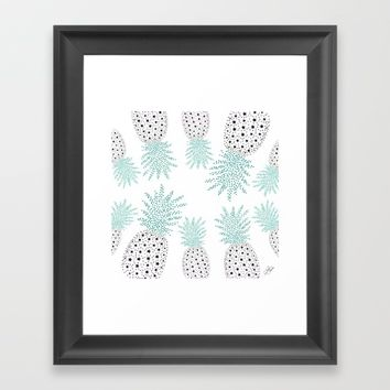 Pineapple Pattern Framed Art Print by ES Creative Designs