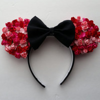 Red, Light Pink, Magenta Floral Rose MInnie Mouse Ears Headband with Black Bow