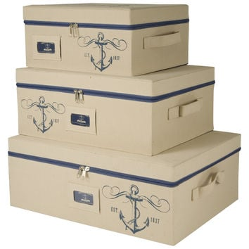 Sheffield Home – Set Of Three Storage Bins With Zippered Lids – Decorative Storage Boxes – Storage Bins With Lids – Nautical Décor
