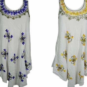 Mogul Interior 2Pc Elina Women's Gypsy Chic Tank Dress Loose White Embroidered Beach Cover Sundress S/M