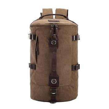 Large Capacity Travel Mountaineering Canvas Bucket Shoulder Backpack Bags