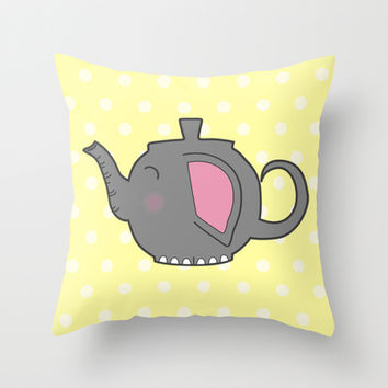 Elephant Teapot Throw Pillow by KJ53321 | Society6