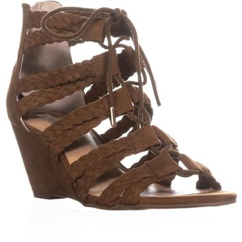 I35 Witley Lace-Up Wedge Sandals, Walnut, 9.5 US