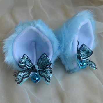 Kitten play clip on cat ears with ribbon bows and bell - neko lolita cosplay costume - kitten play gear accessories - black & baby blue