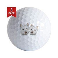 Two Cute West Highland White Dogs Golf Balls on CafePress.com