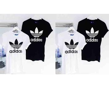 Adidas Originals Trefoil Women Men Summer Round Collar T-Shirt Pullover Top High Quality B