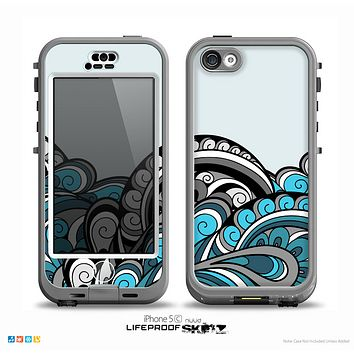 The Abstract Black & Blue Paisley Waves Skin for the iPhone 5c nüüd LifeProof Case