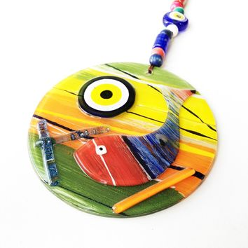 Evil eye wall hanging, mosaic wall art, fish evil eye ornament, lampwork turkish evil eye