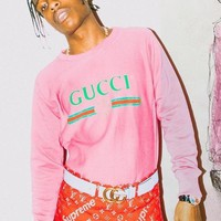 GUCCI men's and women's long sleeved cotton t-shirts