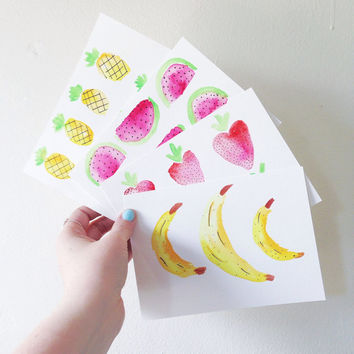 watercolor cards / postcards / watercolor stationery note cards / fruit print