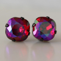 Siam Glacier Blue Cushion Cut Square Crystal Stud Earrings Red Earrings Irridescent Bridesmaid