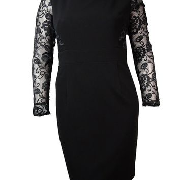 JS Collections Women's Illusion Lace Inset Sheath Dress
