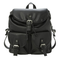 Black PU Slouch Backpack