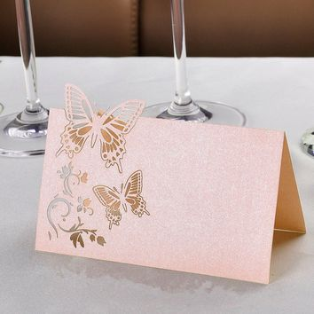 50x Butterfly Table Name Place Card Wedding Decoration