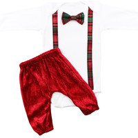 Baby Boys Full Christmas Outfit | Baby Boys Plaid Suspender Bow Tie and Smooth Red Pants | Plaid Christmas Outfit