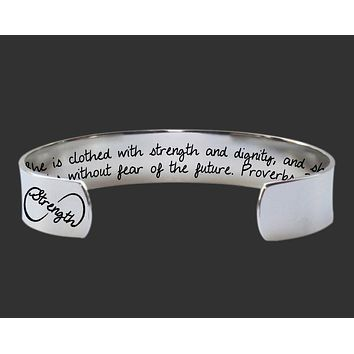 She Is Clothed In Strength and Dignity Bracelet | Christian Gift