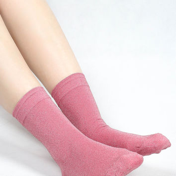 Shalex Metallic Socks - Pink