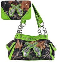 Western Crossed Guns Purse Camouflage Handbag Camo Lime Green Trim W Matching Wallet D2