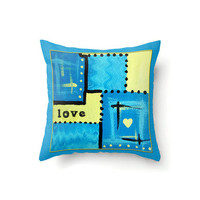 Turquoise and Yellow Pillow Cover abstract design with Love in typography in 16 x 16, 18 x 18 or 20 x 20 inch