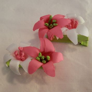 RIBBON SCULPTURES - EASTER - HOT PINK / WHITE LILIES