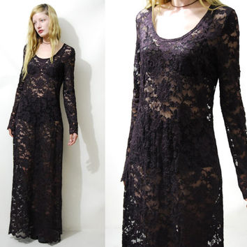 90s Vintage LACE DRESS Dark Aubergine Sheer Floral Mesh Long Sleeve Maxi A-line Grunge Goth Gypsy Boho Bohemian 1990s vtg S M