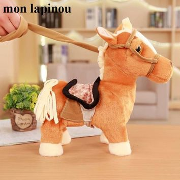30cm Electric Horse Plush Toy Singing And Walking Machinery Pony Electronic Horse Funny Kids Toys Children Birthday Gift