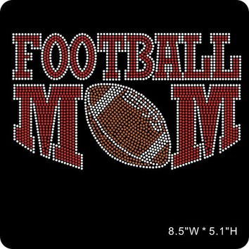 RED Football mom iron on hot fix rhinestone bling transfer - DIY football mom motif appliqué for t-shirts - free heat pressing